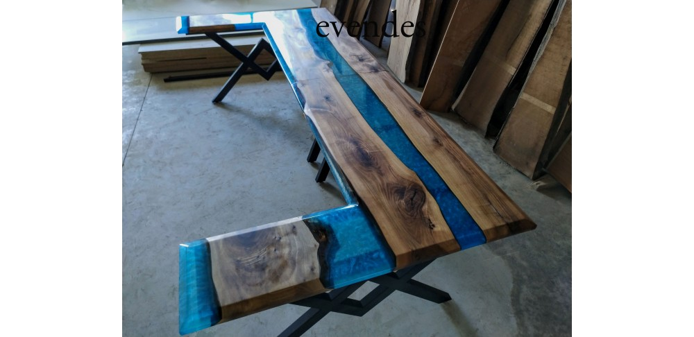 River table, office desk, decor, live edge, walnut wood, epoxy table
