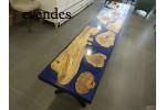 Blue, epoxy table, olive tree, dining table, decor, river table, office desk, live edge table