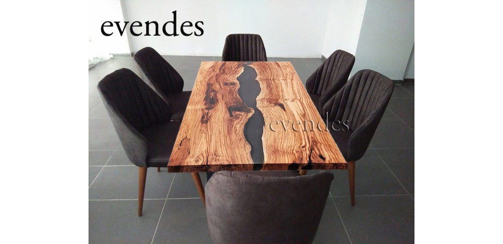 Chestnut wood, epoxy resin table, dining room, lounge, office, kitchen, garden and decor table