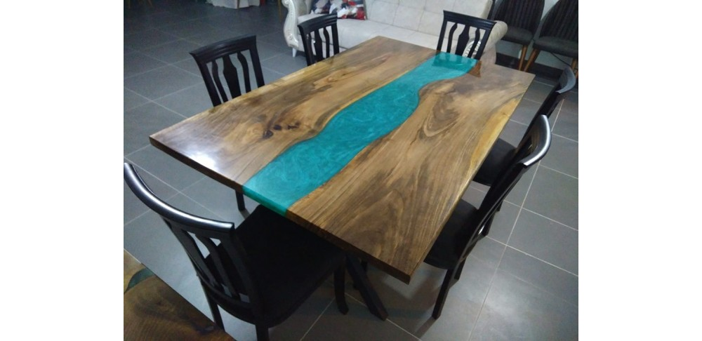 Epoxy resin, walnut wood table, decor, dining room, lounge, office, garden, river table, live edge table