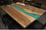 Epoxy resin, walnut wood table, decor, dining room, office desk