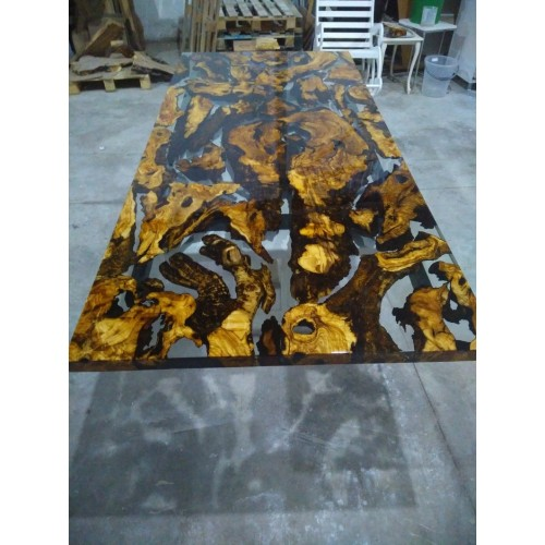 Epoxy resin olive wood table, dining room, office, balcony, decor table