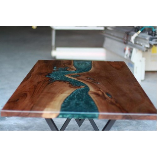 Epoxy resin, walnut wood decor table, dining room, kitchen, office desk