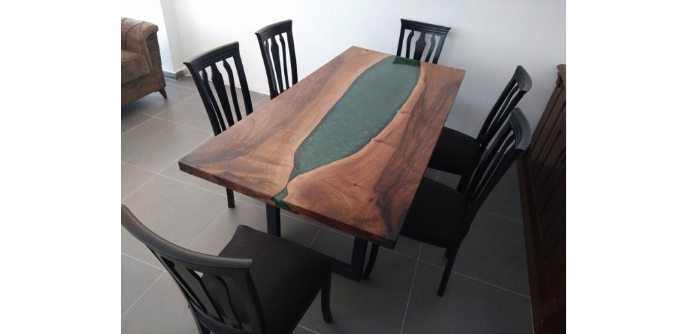 Epoxy resin table, walnut wood for kitchen, dining room, office, balcony, decor table