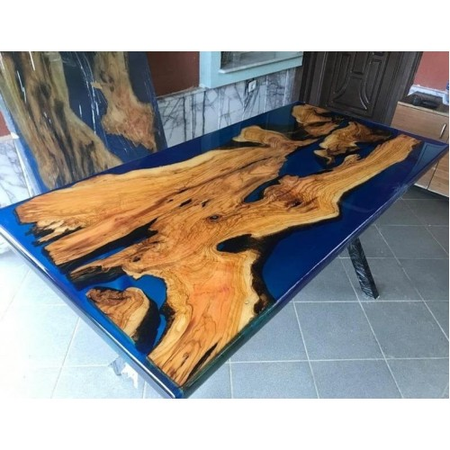 Blue, epoxy resin, olive tree, dining table, living room, office, balcony, garden, decor desk