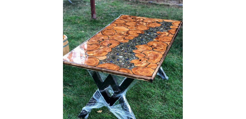 Epoxy table, Epoxy resin olive tree table, Resin table, River table, Decor table.