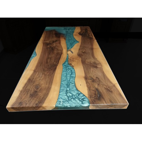 Epoxy table, river table, walnut wood, dining table, office, balcony, garden, decor table