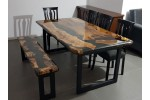 Epoxy resin, olive wood table, decor, dining room, kitchen, lounge, office, balcony, garden table