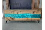 Epoxy resin console, walnut wood console
