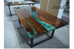 Epoxy resin, walnut wood dining table, living room, dining room, office, balcony, decor table