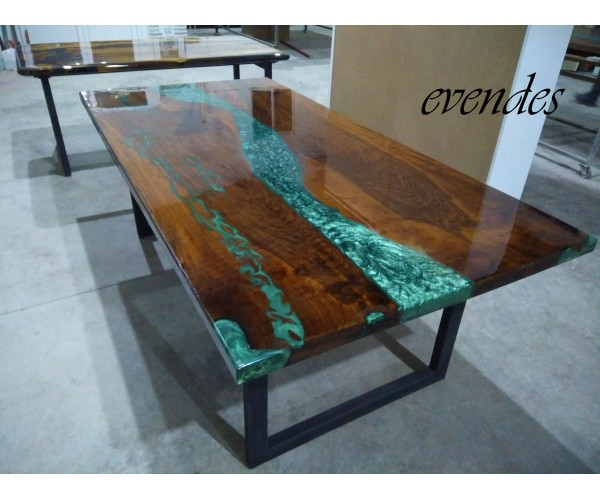River table, walnut wood, dining room, office desk, kitchen table, decor, epoxy dining table