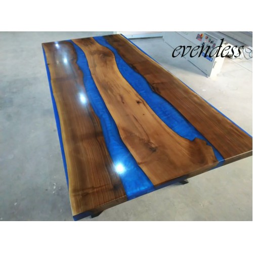 River table, blue epoxy resin, walnut wood, epoxy table, decor, dining room, office, kitchen, balcony, garden table