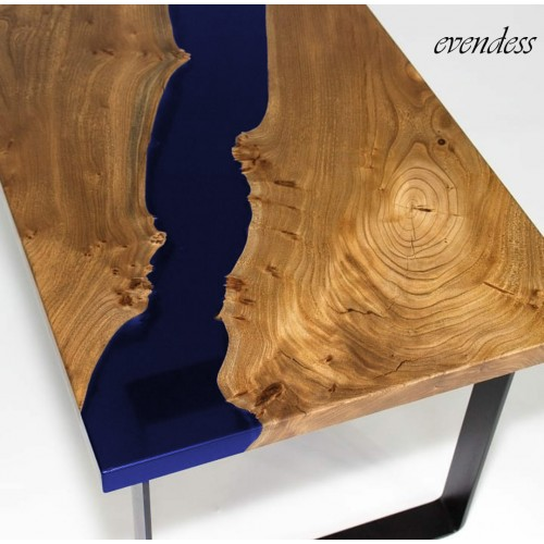Transparent blue, epoxy table, walnut tree, river table, office, balcony, garden, decor table