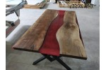 Red, Epoxy table, Walnut wood, River table
