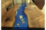 Ocean, epoxy table, decor, office, dining table