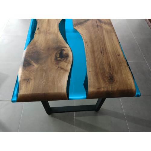 Turquoise epoxy table, decor, office desk, river dining table