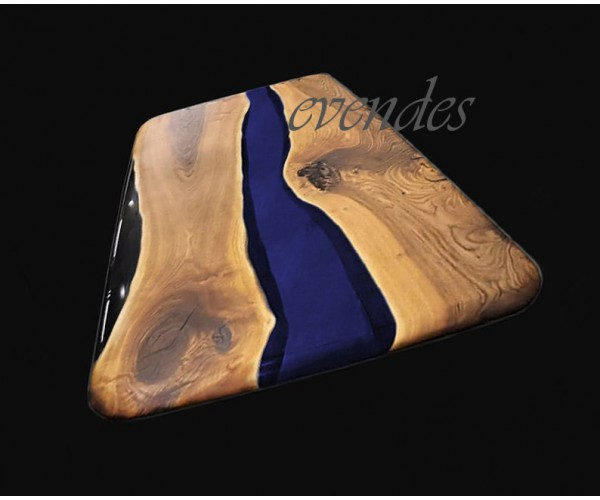 Blue, black, epoxy resin decor table, walnut wood table